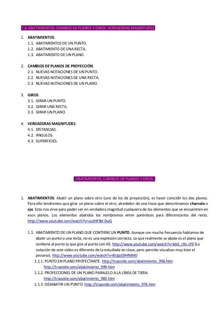 7.d. ABATIMIENTOS, CAMBIOS DE PLANOS Y GIROS. VERDADERAS MAGNITUDES.1. ABATIMIENTOS.   1.1. ABATIMIENTOS DE UN PUNTO.   1....