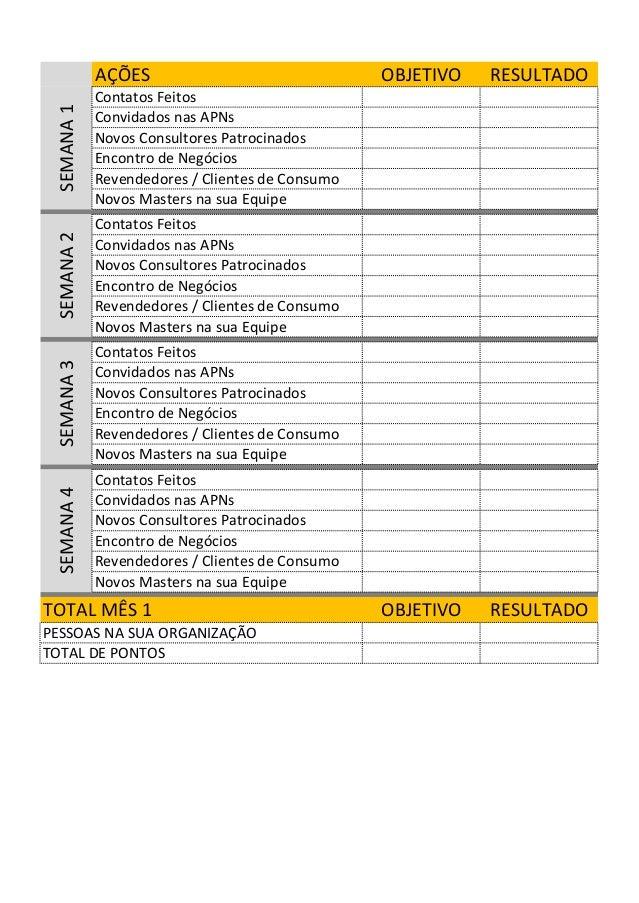A��ES OBJETIVO RESULTADO Contatos Feitos Convidados nas APNs Novos Consultores Patrocinados Encontro de Neg�cios Revendedo...