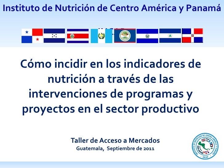 Taller de Acceso a Mercados Guatemala,  Septiembre de 2011 Cómo incidir en los indicadores de nutrición a través de las in...