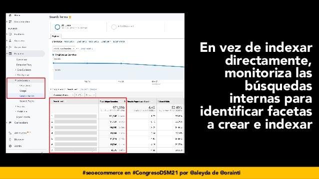 #seoecommerce en #CongresoDSM21 por @aleyda de @orainti En vez de indexar directamente, monitoriza las búsquedas internas ...