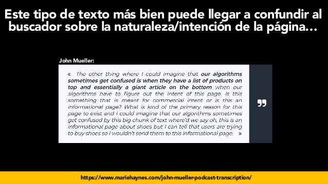 #seoecommerce en #CongresoDSM21 por @aleyda de @orainti https://www.mariehaynes.com/john-mueller-podcast-transcription/ Jo...