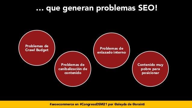 #seoecommerce en #CongresoDSM21 por @aleyda de @orainti … que generan problemas SEO!  Problemas de Crawl Budget Problemas...