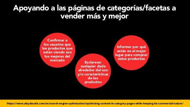 #seoecommerce en #CongresoDSM21 por @aleyda de @orainti Apoyando a las páginas de categorías/facetas a vender más y mejor ...