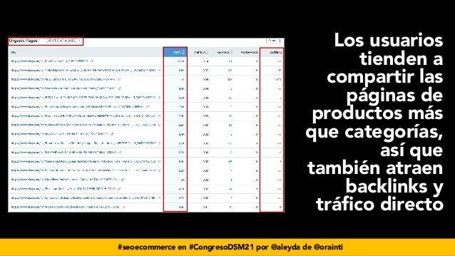 #seoecommerce en #CongresoDSM21 por @aleyda de @orainti Los usuarios tienden a compartir las páginas de productos más que ...