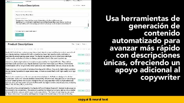 #seoecommerce en #CongresoDSM21 por @aleyda de @orainti Usa herramientas de generación de contenido automatizado para avan...