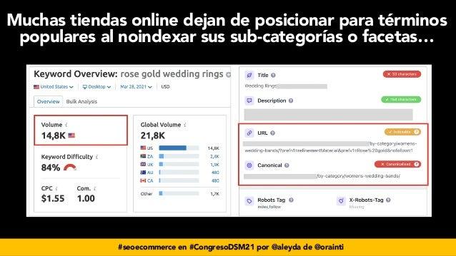 #seoecommerce en #CongresoDSM21 por @aleyda de @orainti Muchas tiendas online dejan de posicionar para términos populares ...