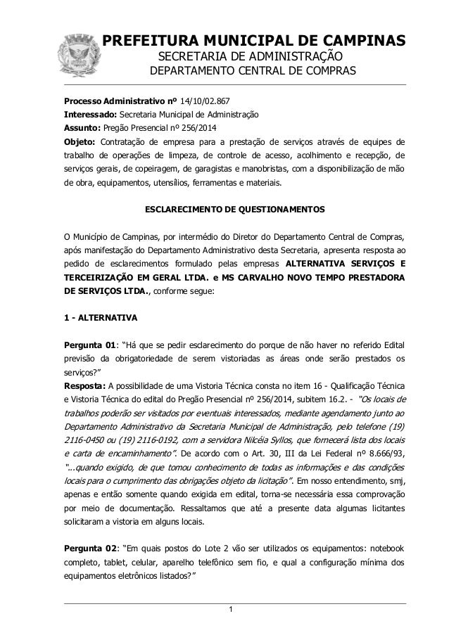 PREFEITURA MUNICIPAL DE CAMPINAS SECRETARIA DE ADMINISTRAÇÃO DEPARTAMENTO CENTRAL DE COMPRAS Processo Administrativo nº 14...