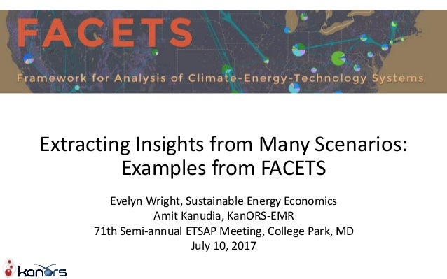 Extracting Insights from Many Scenarios: Examples from FACETS Evelyn Wright, Sustainable Energy Economics Amit Kanudia, Ka...