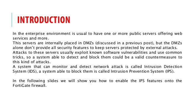 FortiGate Firewall HOW-TO - IPS & DOS protection