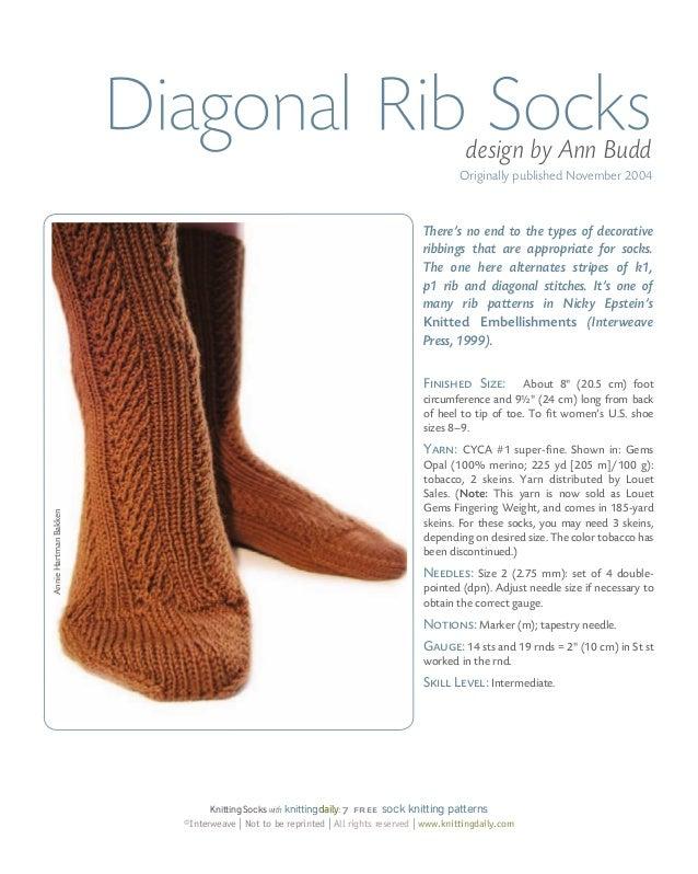 9c28800bb presented by knittingdaily 11  14. Diagonal Rib Socks ...