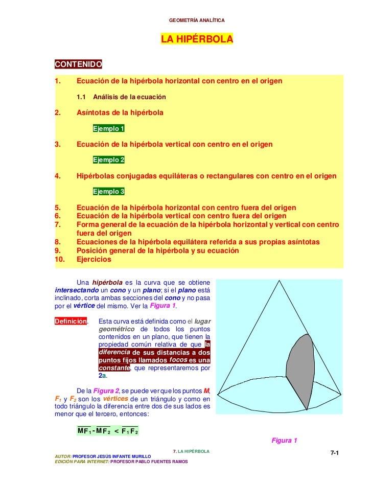 GEOMETRÍA ANALÍTICA                                         LA HIPÉRBOLACONTENIDO1.      Ecuación de la hipérbola horizont...