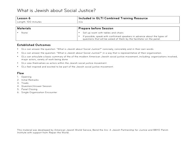 What is Jewish about Social Justice?!Lesson 6                                             Included in GLTI Combined Traini...