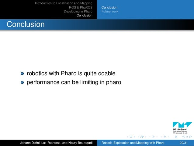 Introduction to Localization and Mapping ROS & PhaROS Developing in Pharo Conclusion Conclusion Future work Conclusion rob...