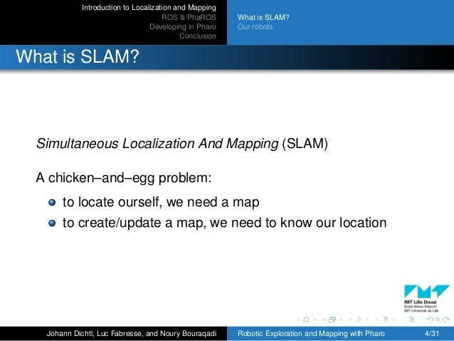 Introduction to Localization and Mapping ROS & PhaROS Developing in Pharo Conclusion What is SLAM? Our robots What is SLAM...