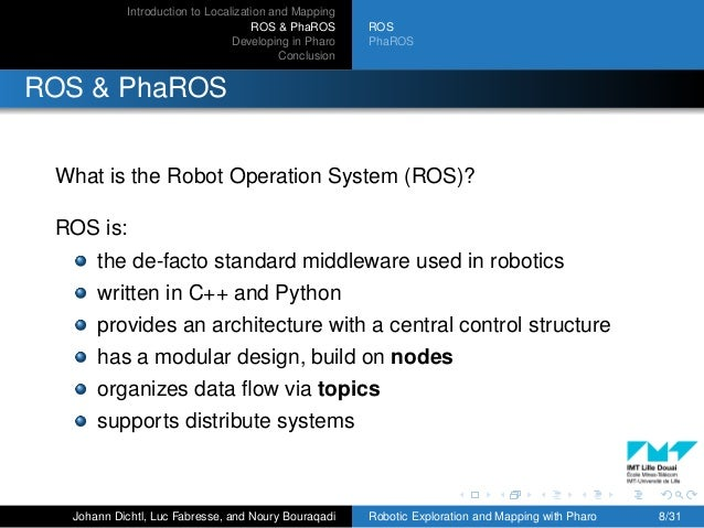 Introduction to Localization and Mapping ROS & PhaROS Developing in Pharo Conclusion ROS PhaROS ROS & PhaROS What is the R...