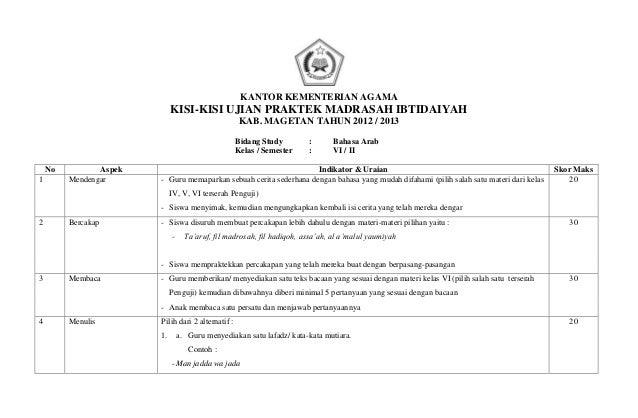 7 Kisi Kisi Ujian Praktek B Arab 2012 2013