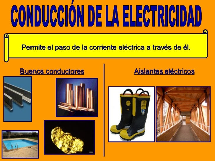 <ul><li>Buenos conductores </li></ul>Permite el paso de la corriente eléctrica a través de él. CONDUCCIÓN DE LA ELECTRICID...