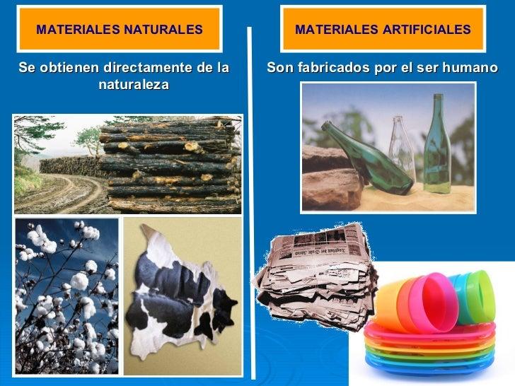 <ul><li>Se obtienen directamente de la naturaleza </li></ul>MATERIALES NATURALES MATERIALES ARTIFICIALES Son fabricados po...