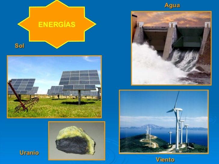 ENERGÍAS Uranio Agua Viento Sol