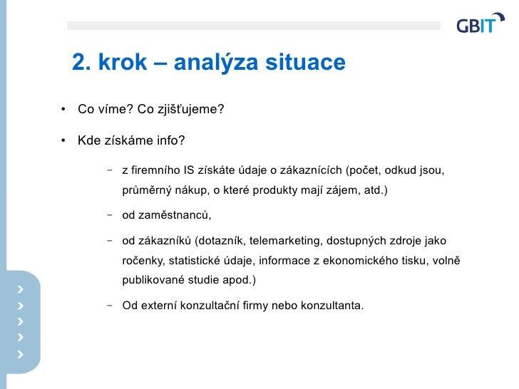 2. krok – analýza situace ●   Co víme? Co zjišťujeme?  ●   Kde získáme info?          –   z firemního IS získáte údaje o z...