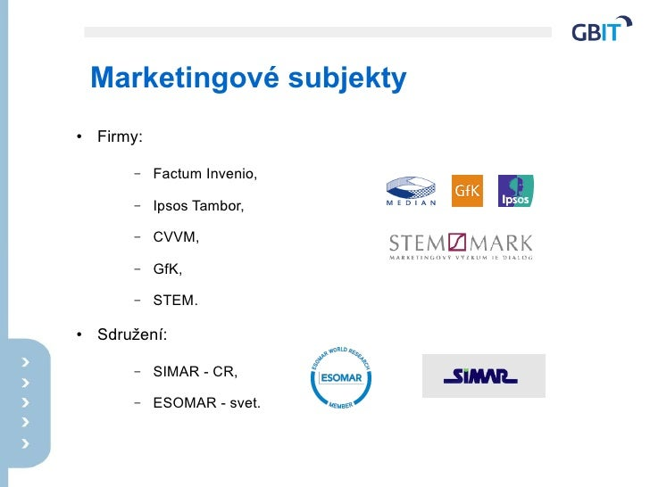 Marketingové subjekty ●   Firmy:          –    Factum Invenio,          –    Ipsos Tambor,          –    CVVM,          – ...
