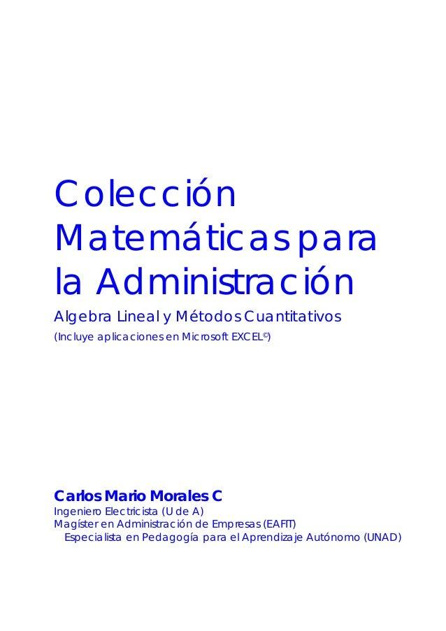 Colección Matemáticas para la Administración Algebra Lineal y Métodos Cuantitativos (Incluye aplicaciones en Microsoft EXC...