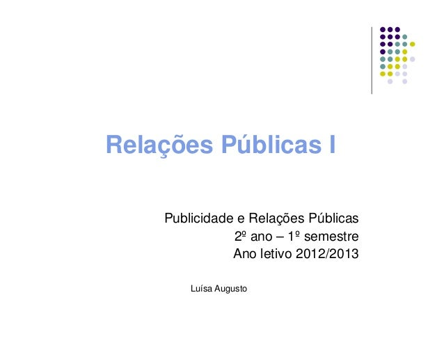 Relações Públicas IPublicidade e Relações Públicas2º ano – 1º semestreAno letivo 2012/2013Luísa Augusto
