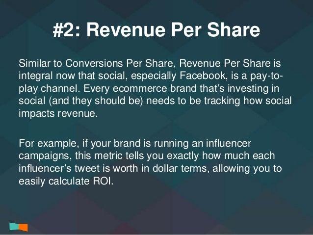 #2: Revenue Per Share  Similar to Conversions Per Share, Revenue Per Share is  integral now that social, especially Facebo...