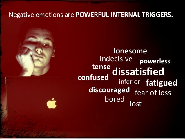 Negative  emotions  are  POWERFUL  INTERNAL  TRIGGERS.  lonesome indecisive powerless tense dissatisfied confuse...