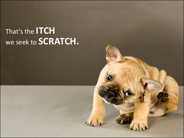That's  the  ITCH we  seek  to  SCRATCH.