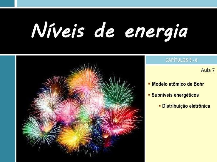 Níveis de energia                   CAPÍTULOS 5 - 8                                      Aula 7             Modelo atômic...