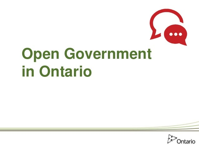 Open Government in Ontario