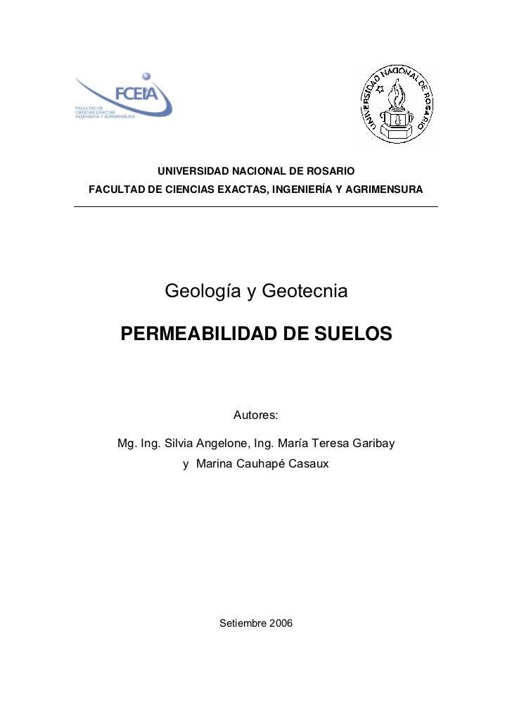 UNIVERSIDAD NACIONAL DE ROSARIOFACULTAD DE CIENCIAS EXACTAS, INGENIERÍA Y AGRIMENSURA            Geología y Geotecnia     ...