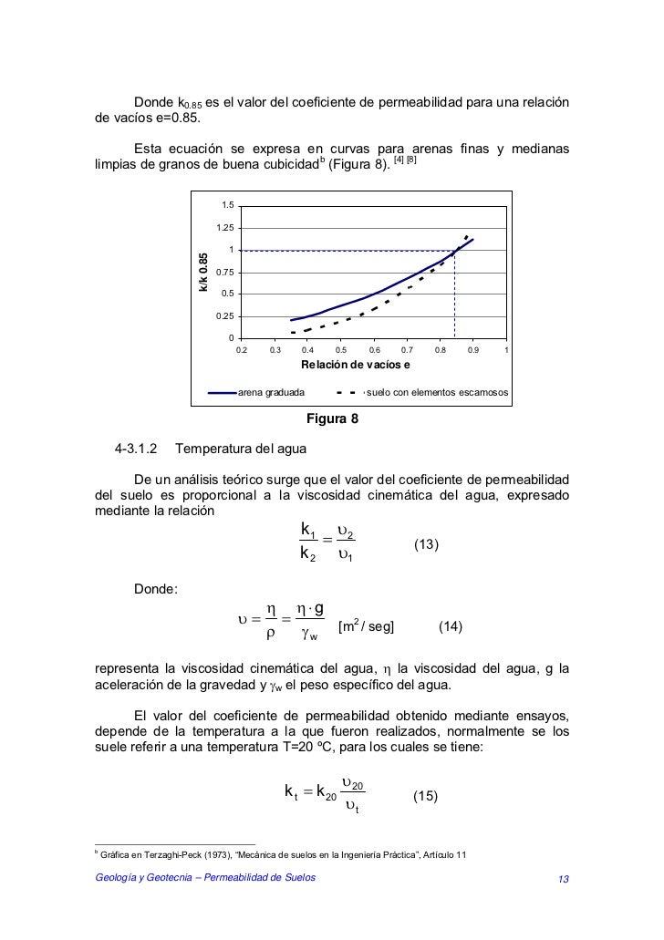 Donde k0.85 es el valor del coeficiente de permeabilidad para una relaciónde vacíos e=0.85.       Esta ecuación se expresa...