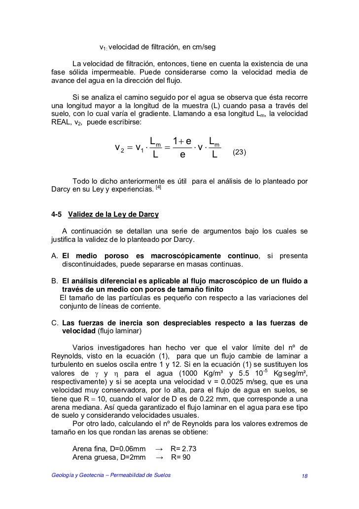 v1: velocidad de filtración, en cm/seg      La velocidad de filtración, entonces, tiene en cuenta la existencia de unafase...