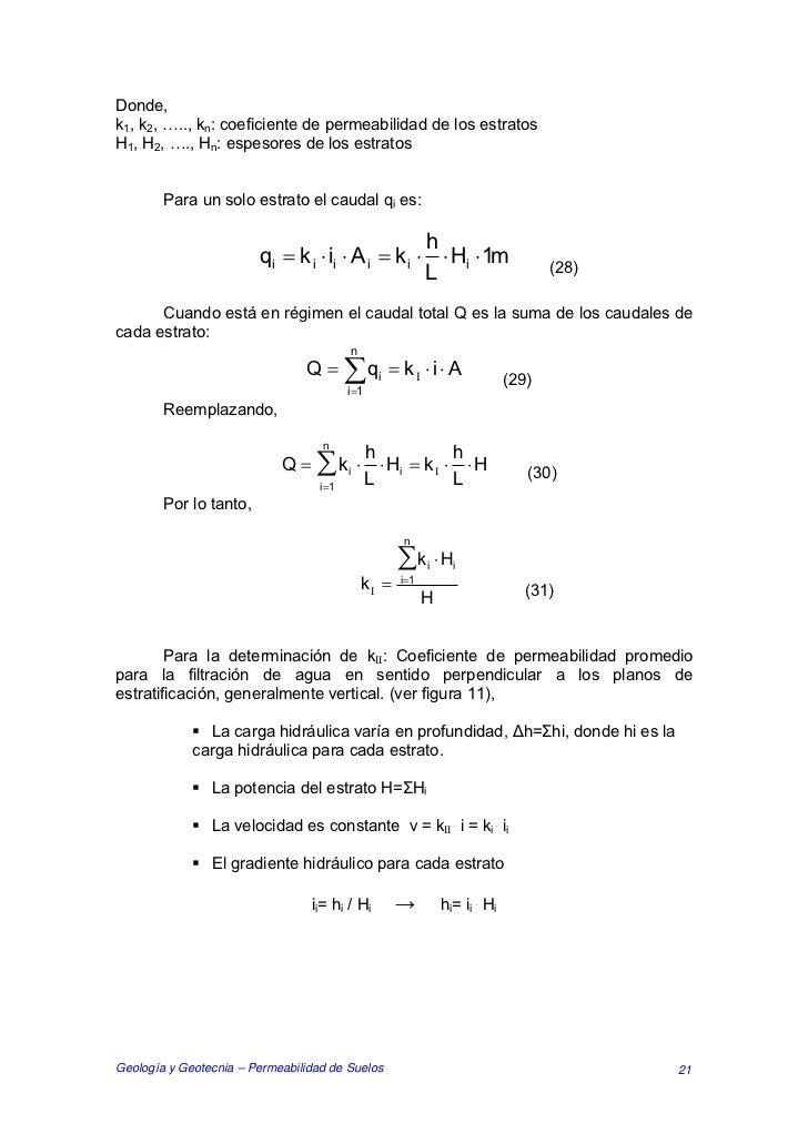 Donde,k1, k2, ….., kn: coeficiente de permeabilidad de los estratosH1, H2, …., Hn: espesores de los estratos        Para u...