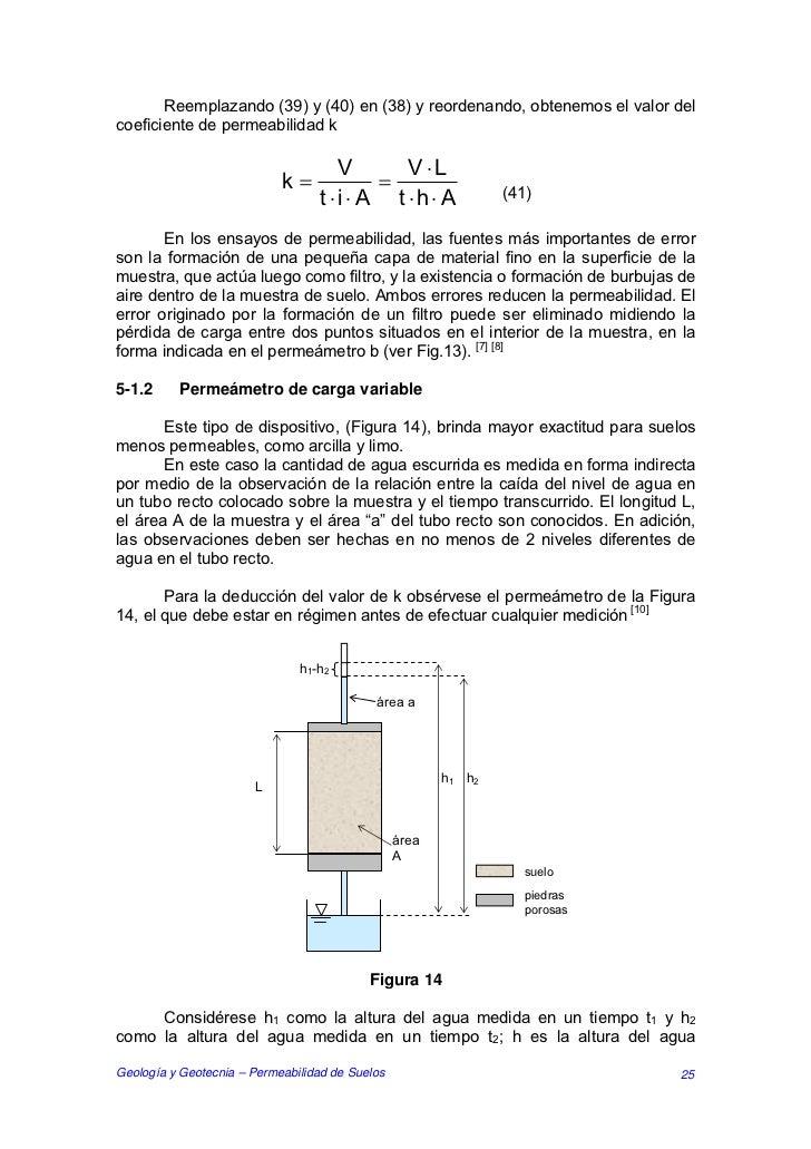 Reemplazando (39) y (40) en (38) y reordenando, obtenemos el valor delcoeficiente de permeabilidad k                      ...