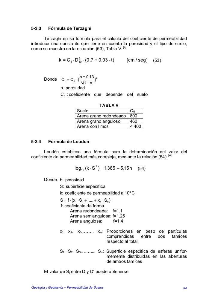 5-3.3     Fórmula de Terzaghi       Terzaghi en su fórmula para el cálculo del coeficiente de permeabilidadintroduce una c...