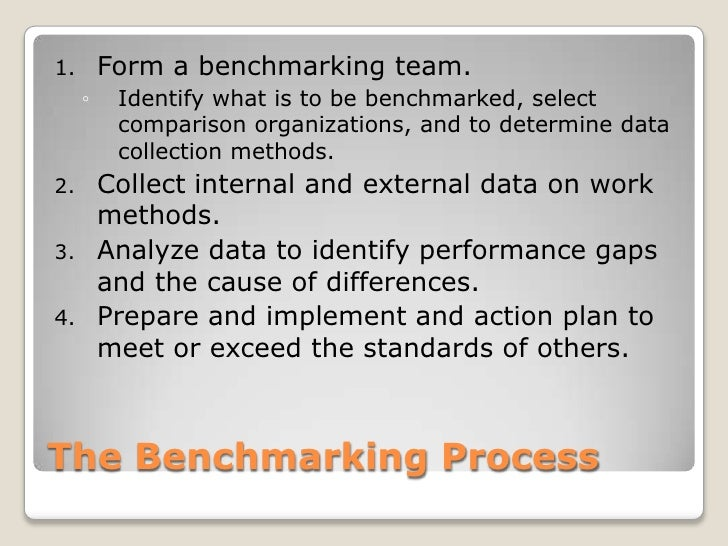 The Benchmarking Process<br />Form a benchmarking team.<br />Identify what is to be benchmarked, select comparison organiz...