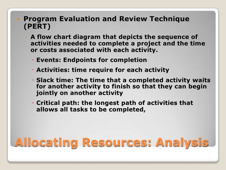 Allocating Resources: Analysis<br />Program Evaluation and Review Technique (PERT)<br />A flow chart diagram that depicts ...
