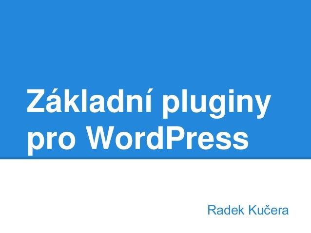 Základní pluginy pro WordPress Radek Kučera