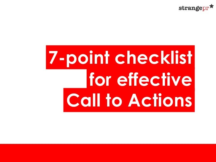 7-point checklist    for effective  Call to Actions