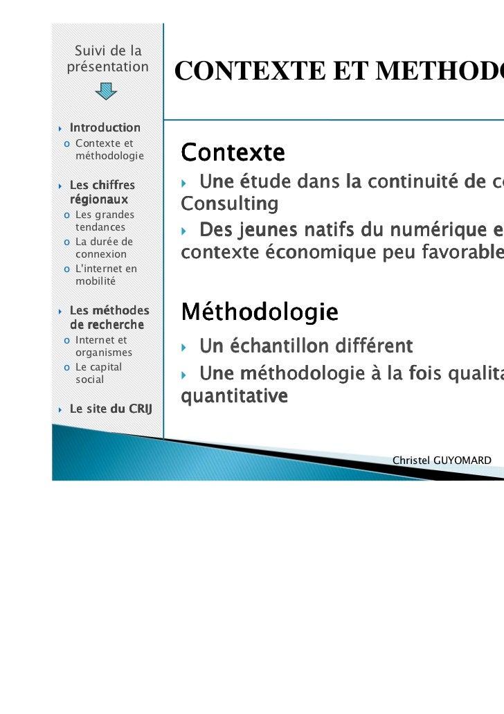 Suivi de laprésentation                   CONTEXTE ET METHODOLOGIE Introductiono Contexte et  méthodologie     Contexte Le...