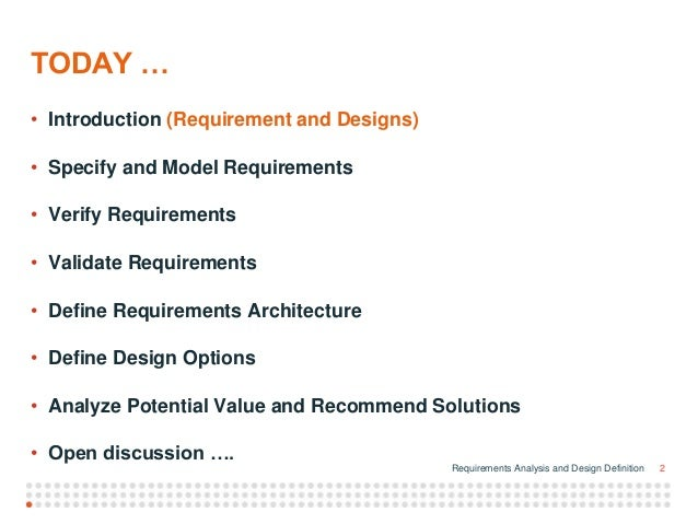 Requirements Analysis And Design Ddefinition