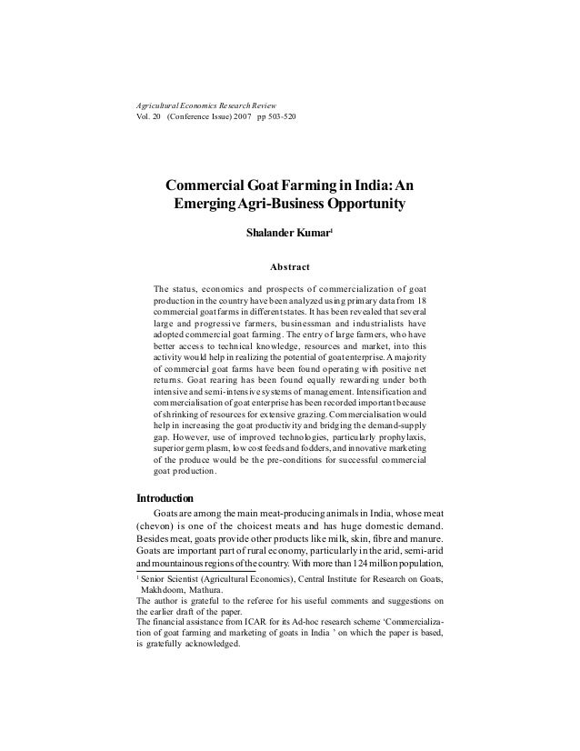 Agricultural Economics Research Review Vol. 20 (Conference Issue) 2007 pp 503-520 Commercial Goat Farming in India:An Emer...