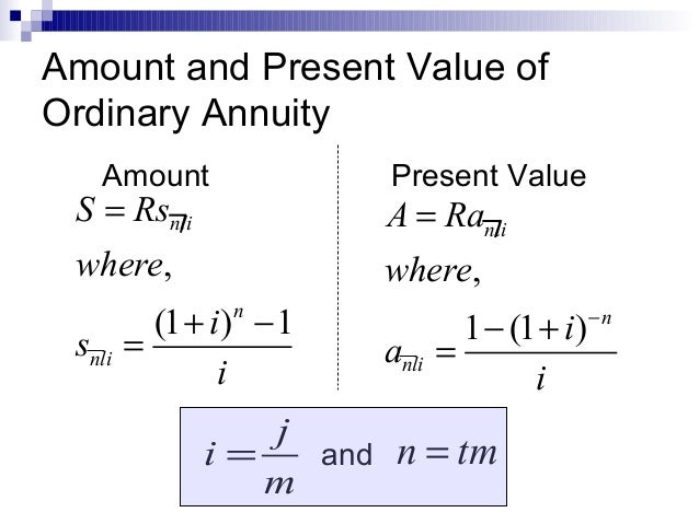Annuities for Table 6 4 present value of an ordinary annuity of 1