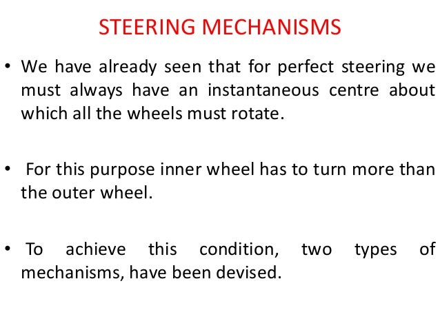 ackerman steering essay While on a bend, the front wheels have different trajectories if wheels remained parallel, the kart would slides ackermann 's steering geometry serves to offset the different direction covered along the curved trajectory, making the front wheels to rotate in a non-linear direction when turning the steering wheel.