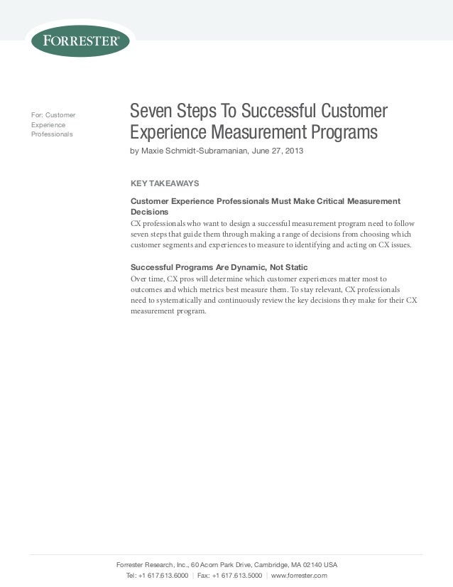 For: Customer Experience Professionals  Seven Steps To Successful Customer Experience Measurement Programs by Maxie Schmid...