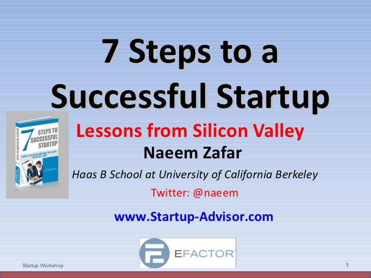 7 Steps to a Successful Startup Lessons from Silicon Valley Naeem Zafar  Haas B School at University of California Berkele...
