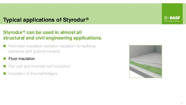 Typical applications of Styrodur® 5  Perimeter insulation (exterior insulation for building elements with ground contact)...